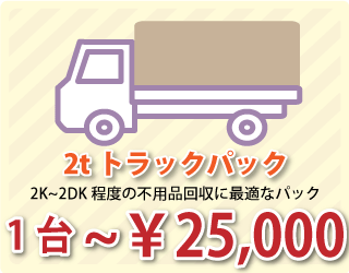 2tトラックパックは2K~2DK程度の不用品回収に最適です!